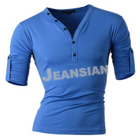 Wholesale Slim Fit Designer Shirts Men - Wholesale-2015 Hot Sales Mens Designer Casual V-Neck Long Sleeveed Tees Shirt Slim Fit Muscle Retractable T-shirt 12 Colors 4 Sizes D304