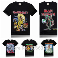 Wholesale Iron Rocks - Wholesale-Iron Maiden Printing New Men T-shirt Rock Band More Colors Fashion Sports T-shirt Black Size S-XXXL
