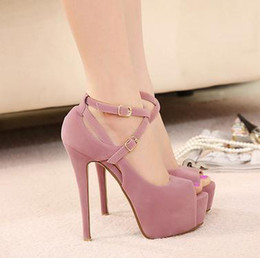 Wholesale Opened Toed High Heel Shoes - Wholesale-Free Shipping 2015 new spring high-heeled shoes wedding shoes platform fashion women's shoes pumps red bottom high heels# 5698