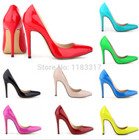 sapatos de salto alto amarelos venda por atacado-Atacado-2015 Plus Size 35-42 Amarelo Neon Salto Fino Apontado Leal Azul Bombas De Salto Alto Vermelho Inferior Das Mulheres Do Vintage Sexy mulheres sapatos