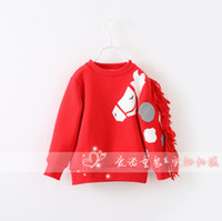 Wholesale Kids Free Sweater Patterns - Wholesale-Free shipping kids boy girls long sleeve t shirt Sweater weird horse pattern children fleeces boy t shirt clothes
