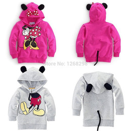 Wholesale Hoodie Coat Outfit - Wholesale-New Cartoon Mickey Baby Girls Boys Kids Minnie Tops Hoodies Coat Outfits Set Clothes Free Shipping