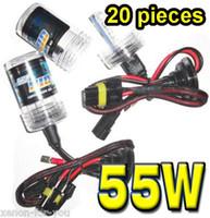 xenon ac hid h7 55w großhandel-20 PAARE 12V 55W HID Xenon Ersatzlampen H1 H3 H4 H7 H8 H11 9004/5/6/7 Single Beam AC Alll Color