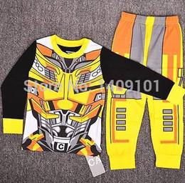 Wholesale Sleepwear T Shirts Cotton - Wholesale-2015 Children clothing Transformer Bumblebee Boys Kids sleepwear Pajamas T-shirts Costume gift Set