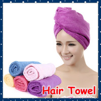 Wholesale Pva Magic Towel - Wholesale-[FORREST SHOP] High Quality Microfibre Lady's Magic Hair Drying Towel Hat (5 pieces lot) FRH-91
