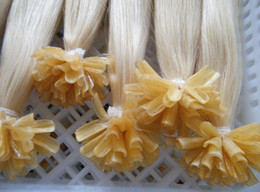 Wholesale Lightest Natural Blonde - MIRACLE 18inch 20inch INDIAN REMY HAIR keratin nail U tip hair extensions straight lightest blond 100g