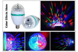 Wholesale Crystal Ball Effect Light - Wholesale-E27 LED crystal magic ball RGB rotating lamp bulb AC85-260V 3W auto disco DJ light with stage effect