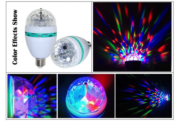 Wholesale-E27 LED crystal magic ball RGB rotating lamp bulb AC85-260V 3W auto disco DJ light with stage effect