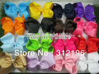 Wholesale-6 pollici Grande nastro del Grosgrain Hairbows, accessori per capelli neonate con clip, boutique archi dei capelli delle forcelle-20pcs-Libero