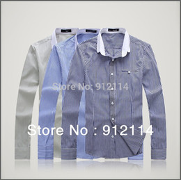 Wholesale Casual Sleeved Black For Men - Wholesale- brand casual stripe shirts for men,mens long-sleeved shirt,loose large size shirts men,plus size, freeshipping,M-5XL,C01