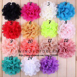 "Wholesale Eyelet Flowers - Wholesale-(30pcs lot)4"" 15 Colors Classic Fabric Flower For Girls' Dress Eyelet Hollow Out Flowers For Hair Accessories"