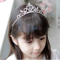 головные ленты оптовых-Wholesale-2015 Cheapest Kids Girl Children Cute Princess head bands Tiara Rhinestone Headband Crown Silver Headwear 31