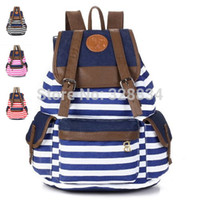 Wholesale Backpacks For College Students - Wholesale-HOT! Unisex Fashionable Canvas Backpack School Bag Super Cute Stripe School College Laptop Bag for Teens Girls Boys Students