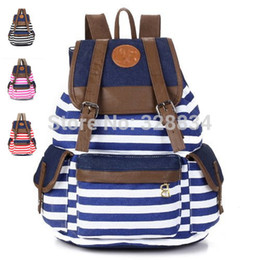 Wholesale Cute Laptop Backpacks - Wholesale-HOT! Unisex Fashionable Canvas Backpack School Bag Super Cute Stripe School College Laptop Bag for Teens Girls Boys Students