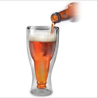 Wholesale Novelty Beer Glasses - Wholesale-free shipping 3pcs lot Happy Flipping Beer Cup Double Wall Glass for Coffee Novelty Gift 360ML Borosilicate CARD-TEC CL2