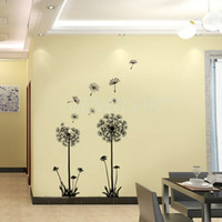Wholesale Dandelions Sticker - Wholesale-70*50cm Decor Dandelion Flower Removable Bed Room Art Mural Vinyl Wall Sticker Decal