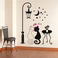 Wholesale Cute Couple Animals Cartoon - Wholesale-Home Decoration Decors Cute Couples Cats Stickers Decals Adesivo De Parede Kids Children's Rooms Decor DIY Cartoon Wall
