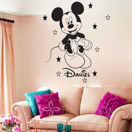 Wholesale DIY Mickey Mouse Personalized Cartoon Vinyl Wall Decals Art  Wallpaper 3d Wall Stickers For Kids Children Room Decor 50*67cm