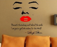 Wholesale Marilyn Monroe Wall Lips - Wholesale-Marilyn Monroe Wall Decal Removable Art Home Decor Quote Face Red Lips Large Nice Sticker Free shipping 100cmx90cm