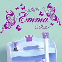 Wholesale Name Vinyl Wall Art Stickers - Wholesale-Butterflies Personalized Name Vinyl Butterfly Wall Mural Nursery Vinyls Girls Room Decor Wall Decals for Kids Room Wall Sticker
