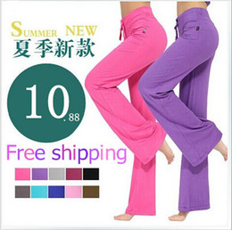korean yoga clothes Promo Codes - Wholesale-2015 Rushed Fitness Pants Waist Cotton And Summer New Large Size Korean Women Yoga Modal Yu Tai For Workout Clothes Freeshipping