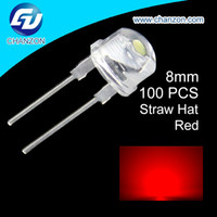 Dip Led 8mm Pas Cher-Gros-100pcs LED 8mm Ultra Bright Transparent Chapeau de paille rouge 8 mm DIP StrawHat Light Emitting Diode LED Diode