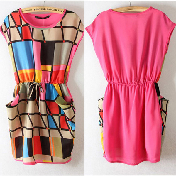 Wholesale-Womens Chic Colorful Geometric Pattern Sleeveless Mini Dress Round Neck Dress For Freeshipping