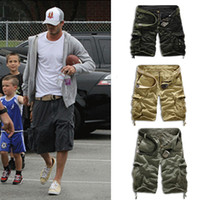 Wholesale Khaki Shorts For Black Men - Wholesale-Summer Mens Baggy Camo Cargo Shorts Multipockets Baggy Loose Army Military Khaki Black Camouflage Short Pants For Men AY721