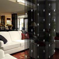 fenstervorhänge für wohnzimmer großhandel-Großhandels-moderne Verdunklungsvorhänge für Wohnzimmer mit Glasperlentür-Schnurvorhangweißschwarzem Kaffee-Fenster drapiert decoracao cortinas