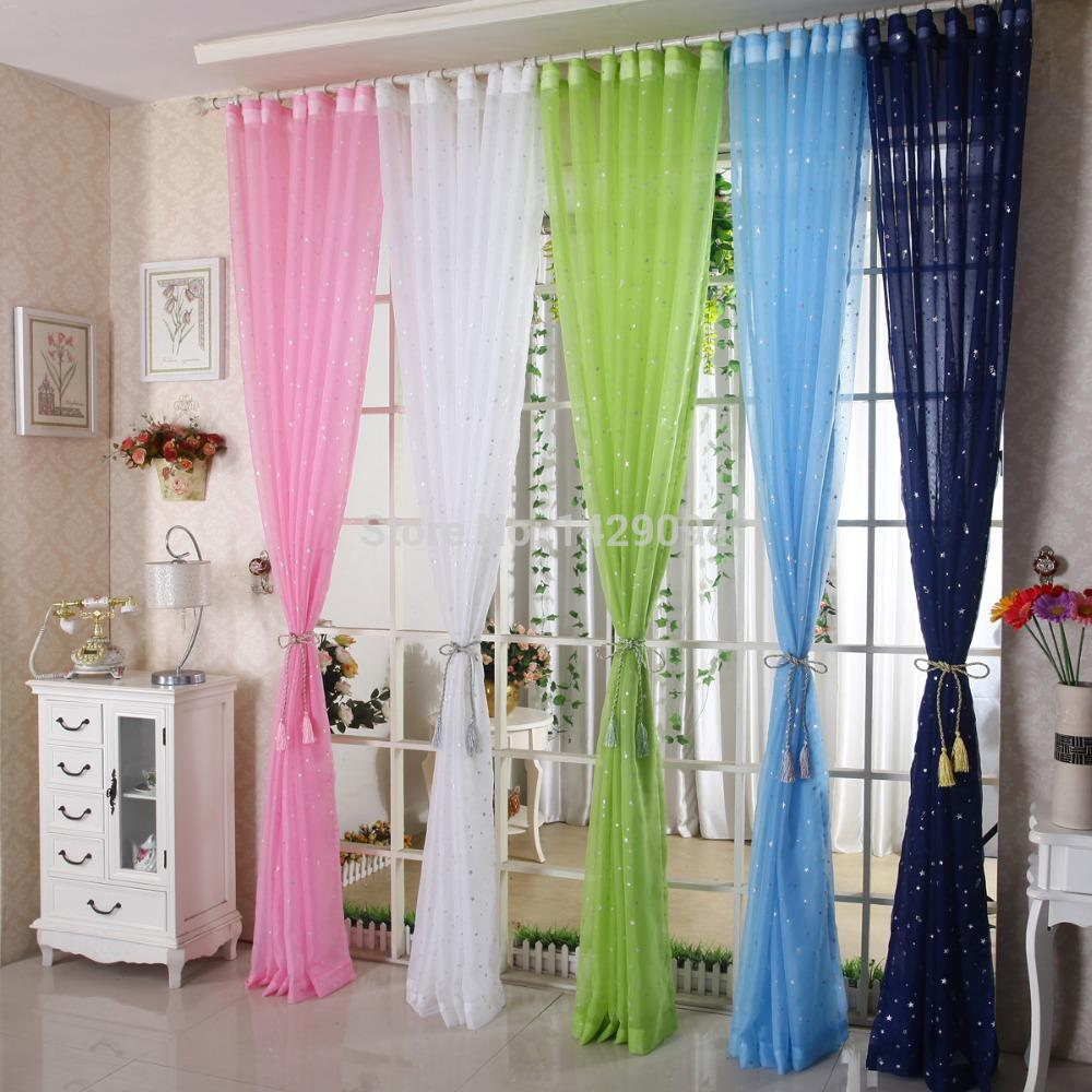 Wholesale Decorative Curtain Yarn Stars Window Screenin Sheer Green Pink Sky  Blue Navy Blue Four Colors To Choose Window Valance Drapes And Curtains  From ...