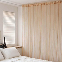 Wholesale Sheer Curtains Tassels - Wholesale-Fringe Tassel Line String Solid Curtain Window Door Room Partition Valance Free Shipping