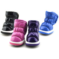 Wholesale Leather Dog Boots - Wholesale-Pet Puppy Dog Pleated Soft PU Leather Winter Waterproof Booties Boots Shoes Free Shipping