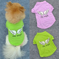 Wholesale Free Patterns Dog Clothes - Wholesale-Cute Pet Puppy Dog Clothes Angel Wing Pattern T-shirt Shirt Coat Tops Clothings Free&DropShipping