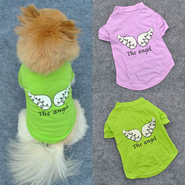 Wholesale Cute Bow Shirts - Wholesale-Cute Pet Puppy Dog Clothes Angel Wing Pattern T-shirt Shirt Coat Tops Clothings Free&DropShipping