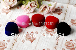 Wholesale Color Velvet Ring Box - Wholesale-High Quality Heart Shape Velvet Jewelry Box Gift Box Mixed Color Fit For Rings And Stud Earrings