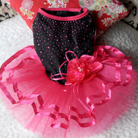 Wholesale Dog Flower Dresses - Wholesale-Hot Pink Clothes Pet Dog Bling Bling Tutu Dress Lace Flower Dress Costume Free Shipping