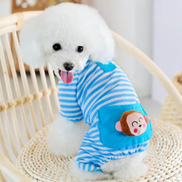 Wholesale Clothing For Cats - Wholesale-Small Pet Dog Stripes Pajamas Coat Cat Puppy Bear Style Clothes Apparel Clothing for Dogs Pets Free Shipping