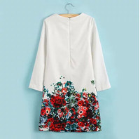 Wholesale Ladies Large Long Dress - Wholesale-2015 Clothing Women Fashion White Dress With Flower Printed Long Sleeve O-Neck Dresses Ladies Large Size Free Shipping LY-049