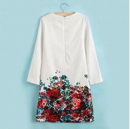 Wholesale Ladies White Dress Flowers - Wholesale-2015 Clothing Women Fashion White Dress With Flower Printed Long Sleeve O-Neck Dresses Ladies Large Size Free Shipping LY-049