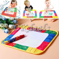 Wholesale Kids Writing Toys - Wholesale-Hot sale 29 * 19cm water drawing board book writing painting Playmats Children Kids Baby Toys Xmas Gift