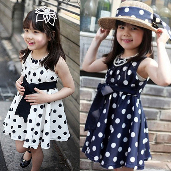 Wholesale-2015 New Kids Children Dress Clothing Cute Polka Dot Gift For Girls Little Princess Chiffon Sundress Vestidos Free Shipping