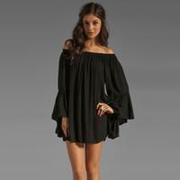 parlayan elbiseler toptan satış-Toptan-Moda Kadınlar Yaz vestido de dresses elbiseler Boho Şifon Elbise Kapalı Omuz Flare Kol Seksi elbise