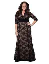 Al por mayor-Mujeres más tamaño Maxi Dress 2015 Primavera Otoño marca Mujeres Long Little Black Lace Dresses 5xl 6xl Madre de la novia viste desde fabricantes