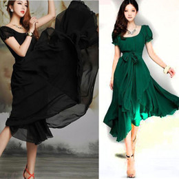Wholesale Chiffon Short Sleeve Maxi Dress - Wholesale-eb4 Summer Dress 2015 Vintage Chic Prom Party Casual Dress Chiffon Green Red Black Long Maxi Women Dress Vestidos Femininos