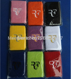 Wholesale Tennis Wristbands Wholesale - Wholesale-Free shipping(3pcs lot)Roger Federer RF Nadal sport wristband embroidery sweatband tennis racket basketball Speedminton padel