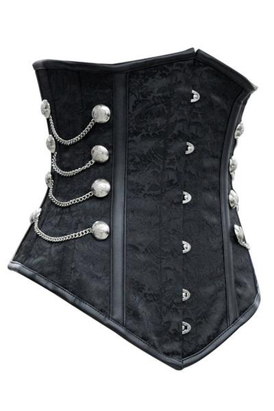 Atacado-novo 2015 latex cintura cincher cintura formação corsets, Noble Black Satin Underbust espartilho com cadeias de roupas góticas