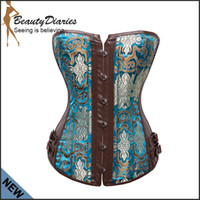 Wholesale Leather Waist Training Corsets - Wholesale-Sexy Leather Corset Top Embroidery espartilho Gothic Corpete Corselet Overbust Waist Training Corsets Steampunk Bustier Shaper