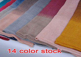 Wholesale Hijab Voile - Wholesale-wholesale ladies printe ombre shade plain fashion100% viscose shawls long cotton voile hijab muslim scarves scarf 10pcs lot