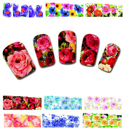 Wholesale Temporary Nail Art - Wholesale 50Sheets XF1372-1421 Nail Art Flower Water Tranfer Sticker Nails Beauty Wraps Foil Polish Decals Temporary Tattoos Watermark