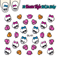 Wholesale Nail Sticker Black White - Wholesale-25Sets Lot 3D Monster Highs White Black Skulls Pink Bow Nail Art Sticker DIY Decal Decoration 24Styles GL01-GL024 Free shipping